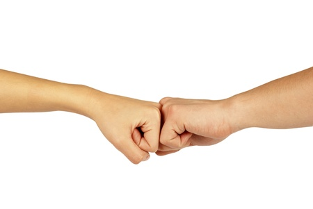 Two hands: man and woman, isolated on white photo