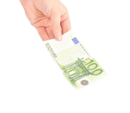 Money (Euro) in a hand isolated on white photo