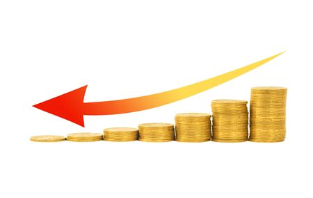 Financial concept- graph of the columns of coins isolated on white background photo