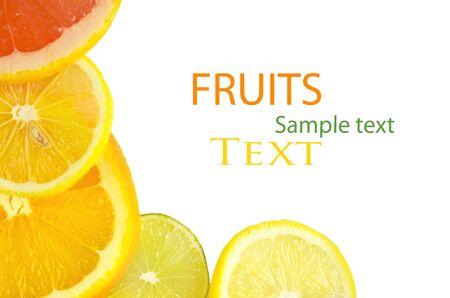 Vitamin C Overload, Stacks of sliced fruit isolated on white Stock Photo - 12415957