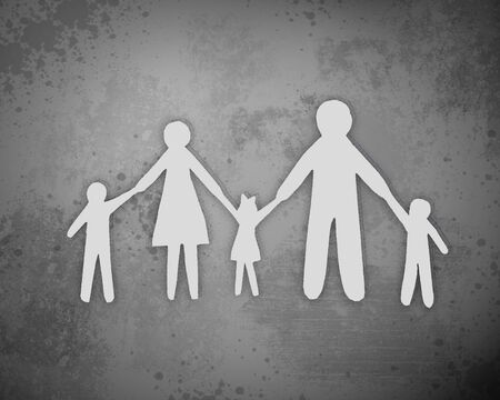 cross linked: Paper cut family, isolated on grey background