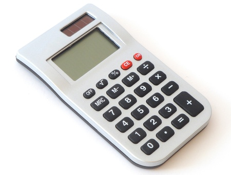 Small digital calculator for accountant isolated on white background photo