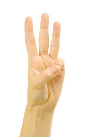 body language: Front right hand three fingers Stock Photo