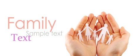 Paper family in hands isolated on white background Stock Photo - 12614282