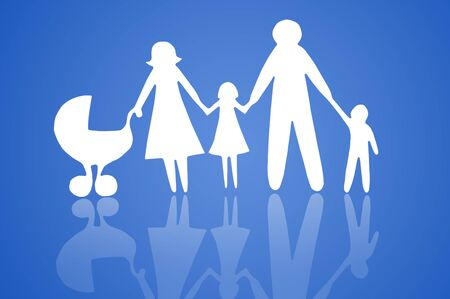 Closeup of paper family on blue background Stock Photo - 12613861