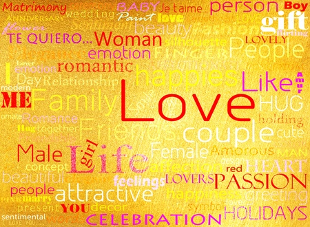 Seamless pattern made from words which relate with word love Stock Photo - 12663390