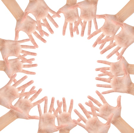 Circle made of hands isolated on white background Stock Photo - 12663260