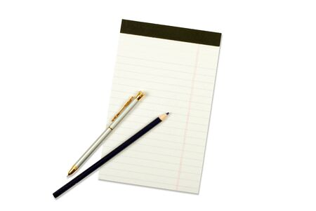Notebook with pencil and pen isolated on white Stock Photo - 12662314