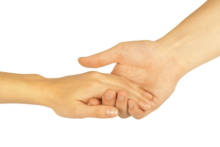 Shaking hands of two people, man and woman, isolated on white  photo