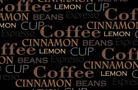 lunch break: Coffee words background Stock Photo