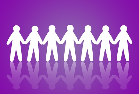 team of paper people on violet background Stock Photo - 12662940