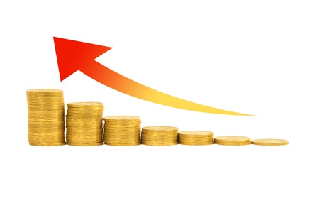 gold bar earn: Financial success concept- graph of the columns of coins isolated on white background