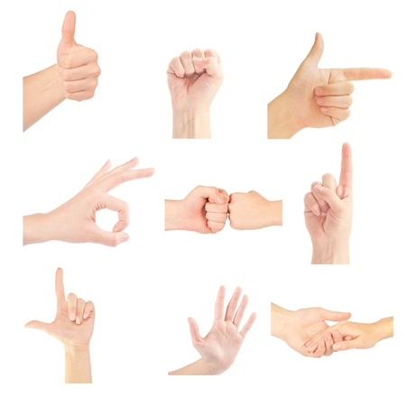 Set of gesturing hands isolated on white background Stock Photo - 12663203