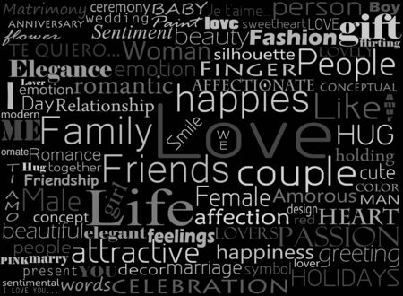 relate: Seamless pattern made from words which relate with word love Stock Photo