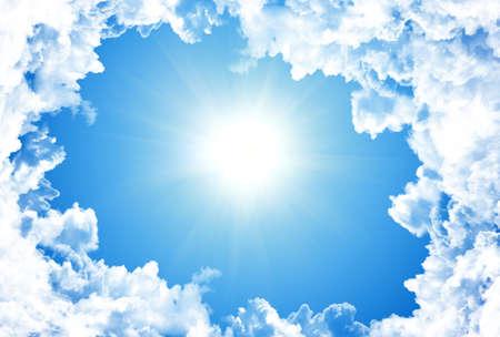 Sun in bright blue sky Stock Photo