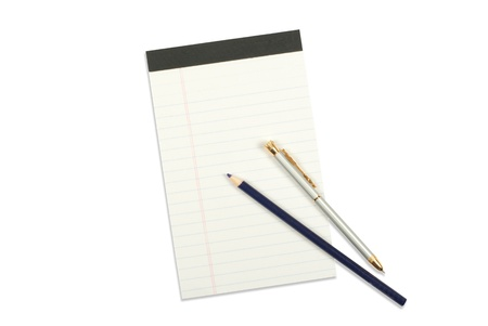 Notebook with pencil and pen isolated on white Stock Photo - 12706445