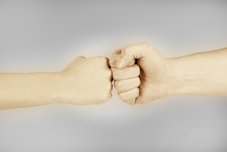 Two hands  man and woman, isolated on white photo