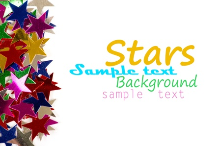 new year  s day: Christmas decoration of colored confetti stars against white background