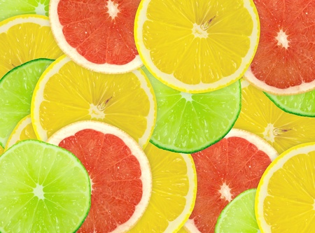 Abstract background of citrus slices. Closeup. Studio photography. Stock Photo - 12707044