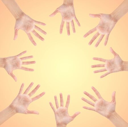Circle made of hands isolated on beautiful background Stock Photo - 12747002