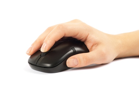 clicked: computer mouse with hand over white