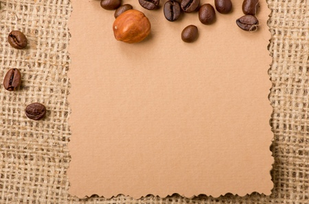 old paper for recipes and spices on burlap closeup Stock Photo - 12746932