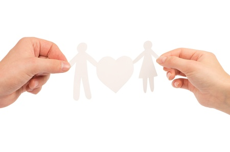 paper family in hands isolated on a white background Stock Photo - 12746887