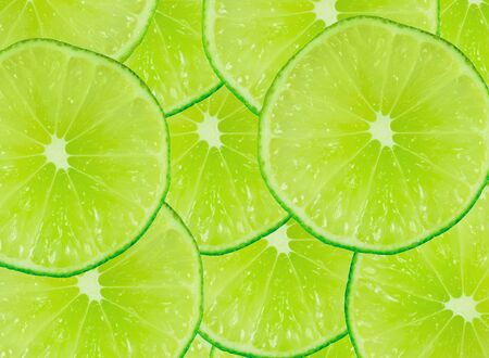 Abstract green background with citrus-fruit of lime slices  Close-up  Studio photography  Stock Photo - 12832588