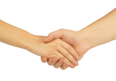 Shaking hands of two people, man and woman  photo