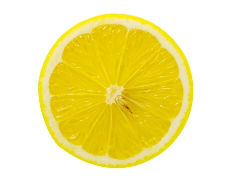 squeezing: slice of lemon isolated on white background
