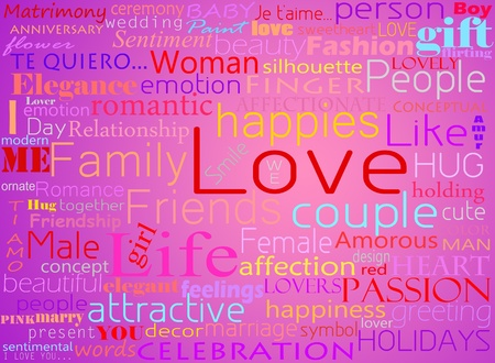 Seamless pattern made from words which relate with word love Stock Photo