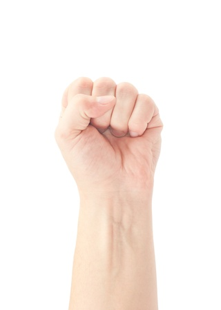 Fist  Gesture of the hand on white background Stock Photo - 12862430