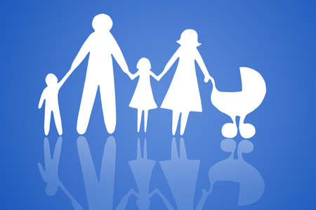 Closeup of paper family on blue background Stock Photo - 12862768