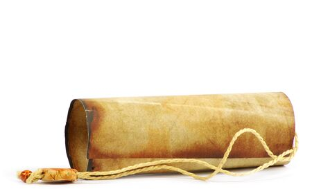 rolled paper: Old rolled paper isolated on a white