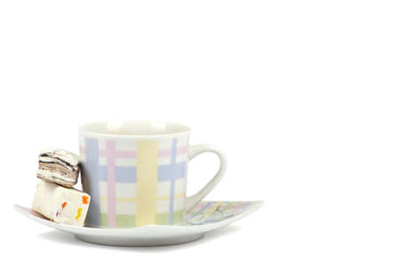Coffee cup with sweets on white background Stock Photo - 13005826