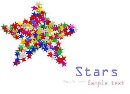 celebratory: Big star composed of many colored stars on white