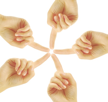 Hands of teamwork , forming the star shape Stock Photo - 13129944