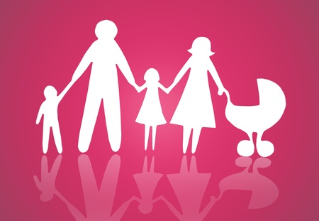 Closeup of paper family on pink background photo