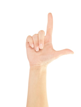 dictatorial: Mano che indica, toccare o premendo isolated on white. Caucasica femminile.