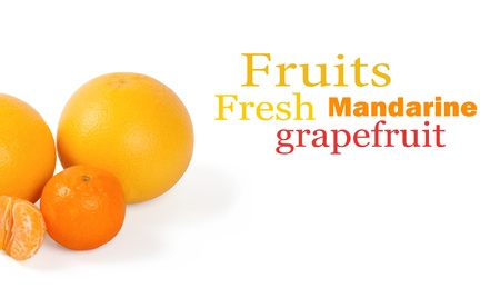 Fresh citrus fruit on a white background photo
