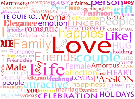 relate: Seamless pattern made from words which relate with word love Illustration