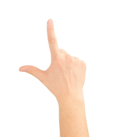 dictatorial: Hand pointing, touching or pressing isolated on white. Caucasian male.