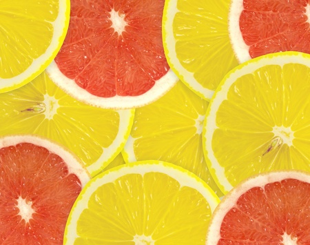 Abstract background of citrus slices  Closeup  Studio photography