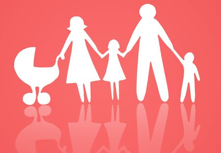 Closeup of paper family on red background Stock Photo - 13299431