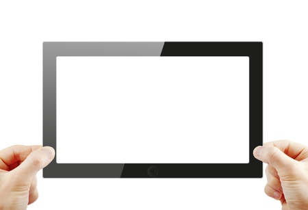 electronic device: Black generic tablet pc, 3d render  Stock Photo