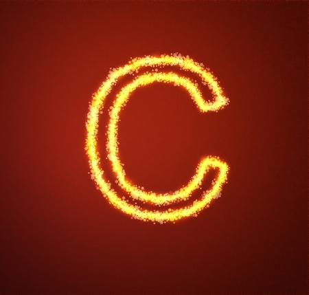 Gold star alphabet letter C  Stock Photo - 13450025