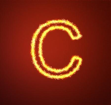 Gold star alphabet letter C Stock Photo - 13450025