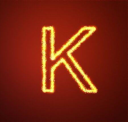Gold star alphabet letter K  photo