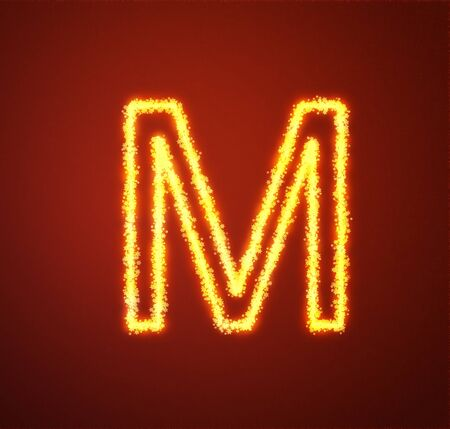 Gold star alphabet letter M  photo