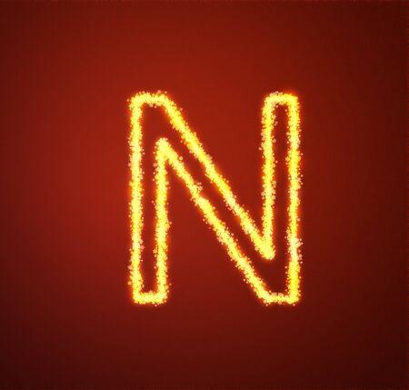 Gold star alphabet letter N  photo